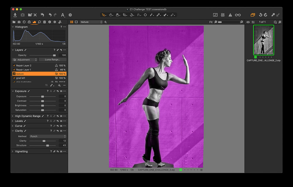 This shows the mask (in pink) around the model in order to keep my edits to the wall off of the model