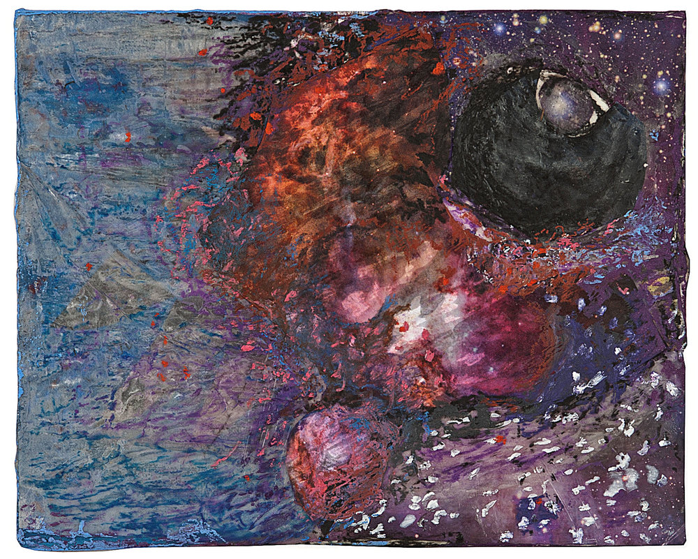 Cosmos 1, acrylic/wax/collage on board, 8x10""