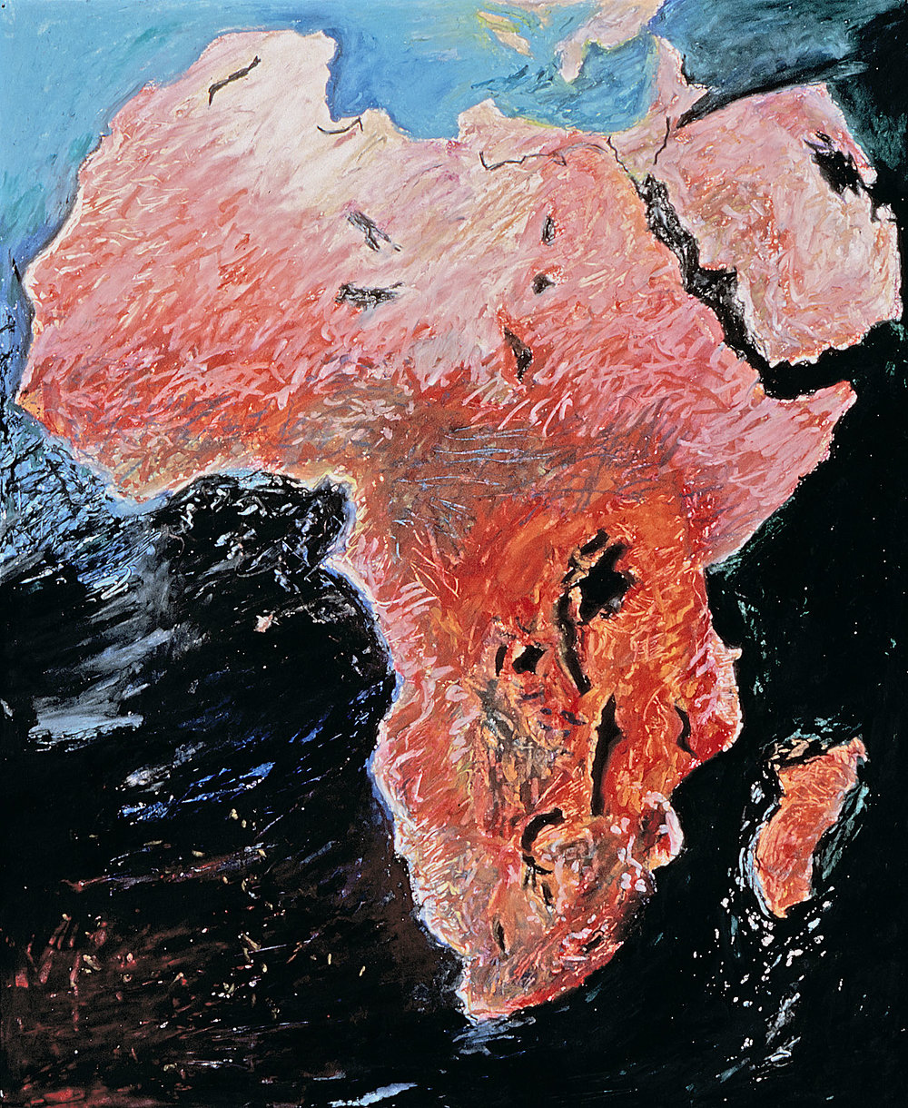 African Continent, oil pastel on paper, 14x11""
