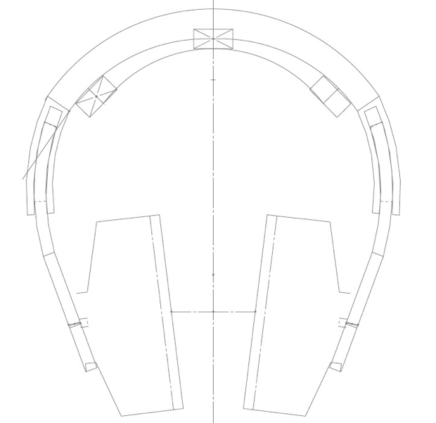 Our headphone model, closed - 2D simplification