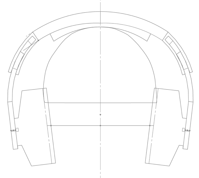 The headphones, projected onto one of the 2D test-heads from our MRI model