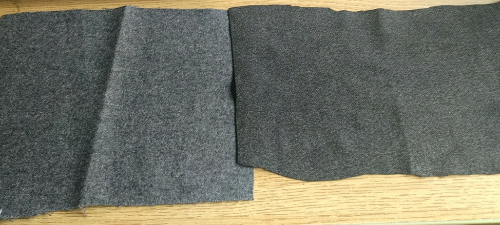 Two acoustic fabrics we're testing. We'll be making prototypes with each to decide which feels best.