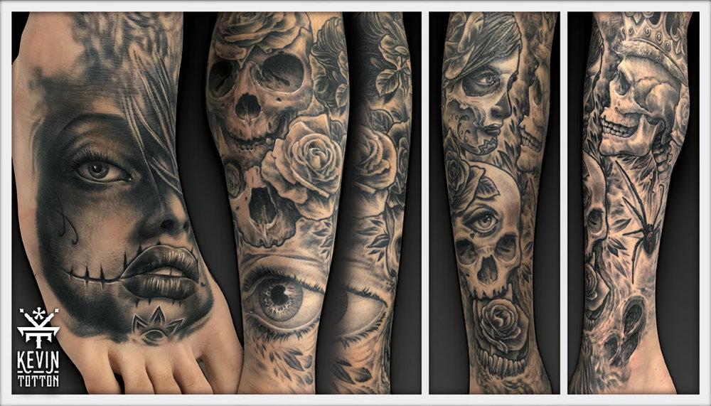 Custom full leg design,skulls and day of the dead inspired theme.