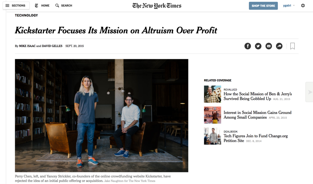 New York Times on Kickstarter's conversion to a Public Benefit Corporation
