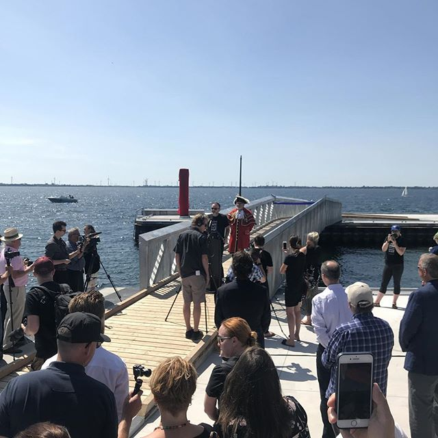 """To sum up the day in one word: """"grateful"""". This is Swim Drink Fish's only word today, the opening of the first urban swimming pier at the revitalized Breakwater Park. Thank you all, especially The W. Garfield Weston Foundation for investing in swimmable drinkable fishable Great Lakes. #swimdrinkfish"""
