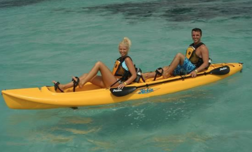 Two Hobie Mirage Oasis Tandem Pedal Kayaks