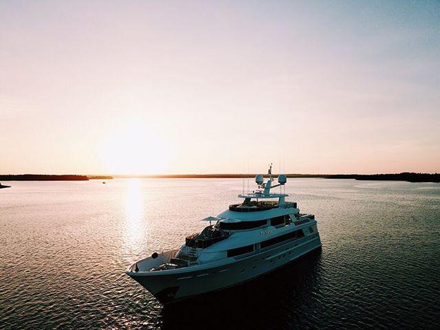 Sunset drone flights 📍Nova Scotia, Canada . . . . . #motoryacht #yacht #yachting #boat #boatlife #yachtlife #charter #charteryacht #charterboat #drone #dronephotography #djimavicpro #sunset #canada #novascotia #view #beautiful #awesome #amazing #westport #farniente