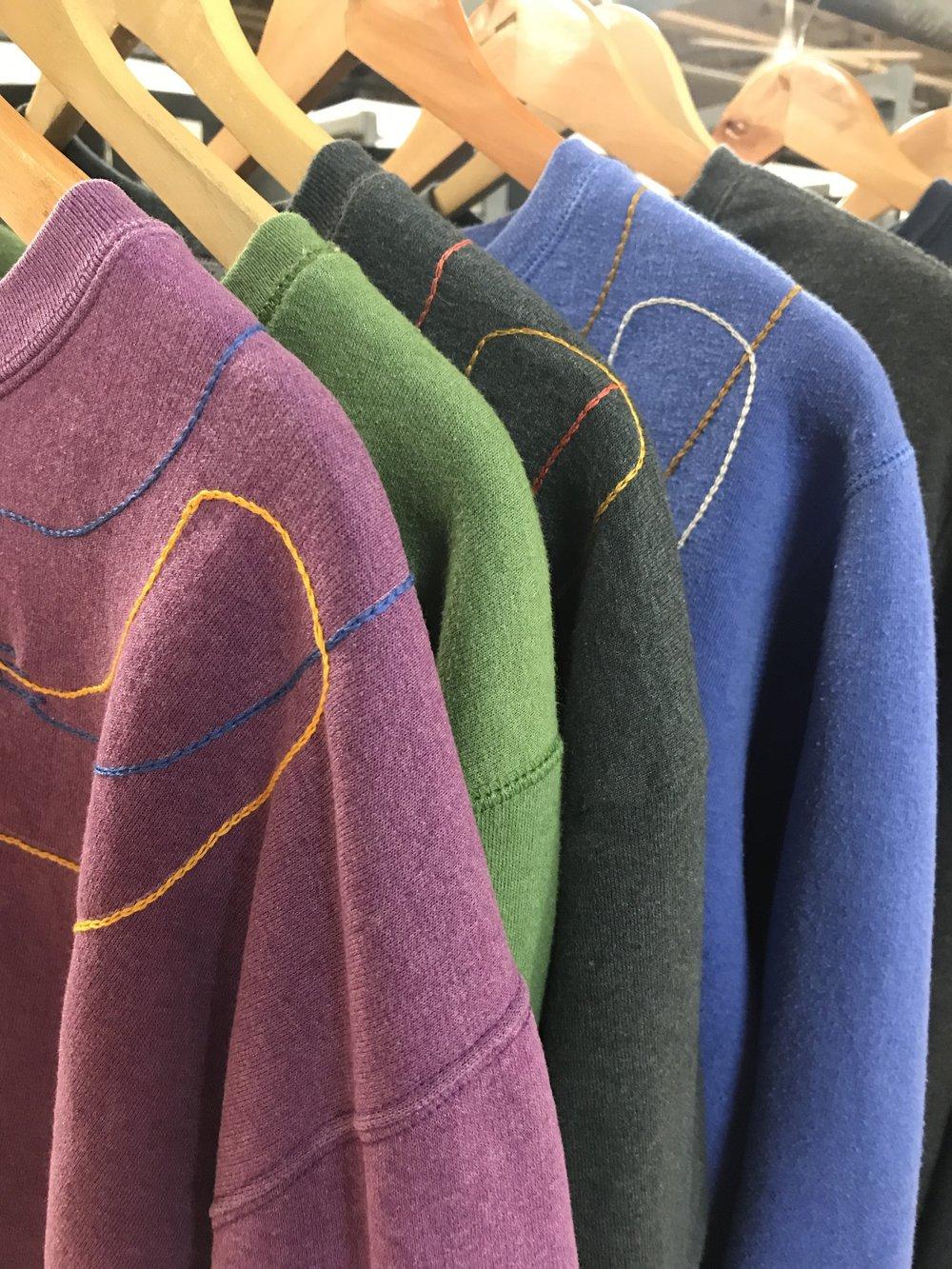 new embroidered sweatshirts in progress