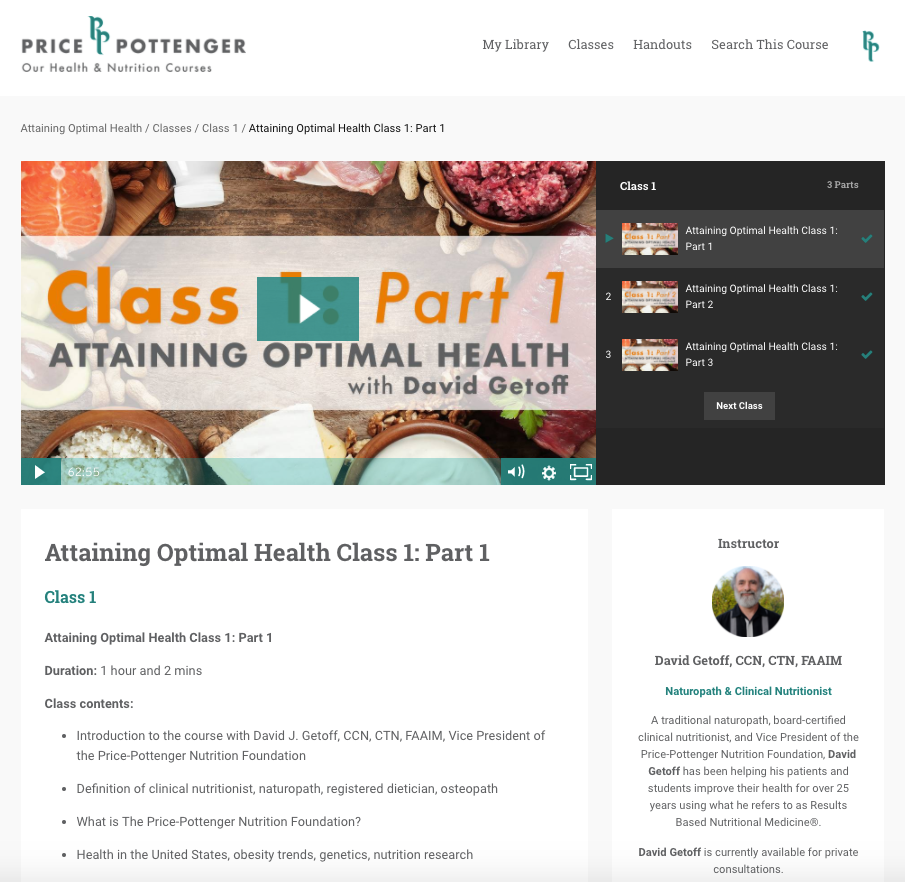 Attaining Optimal Health - Online Course  Course Module