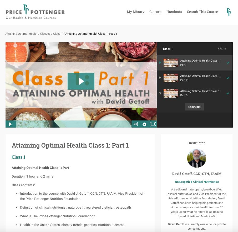 David Getoff's Attaining Optimal Health - Online Course