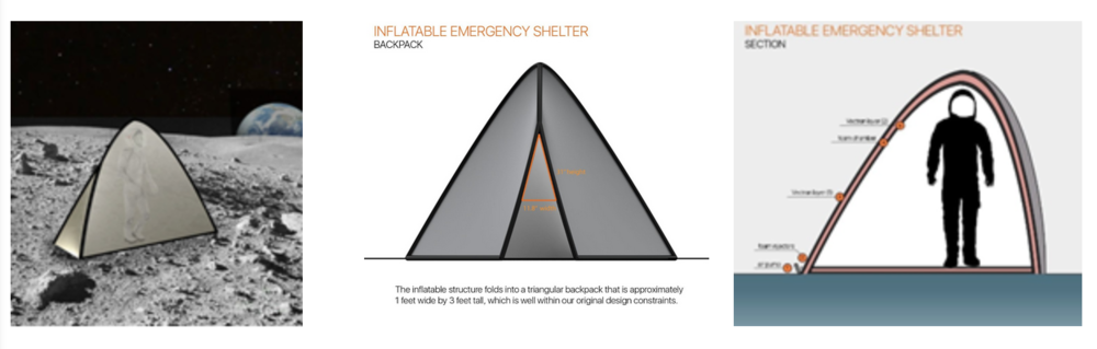 Figure  :   Inflatable emergency shelter for astronaut.      [Team: Valentina Sumini and Meghan Maupin. Faculty advisor: Prof. Caitlin Mueller]