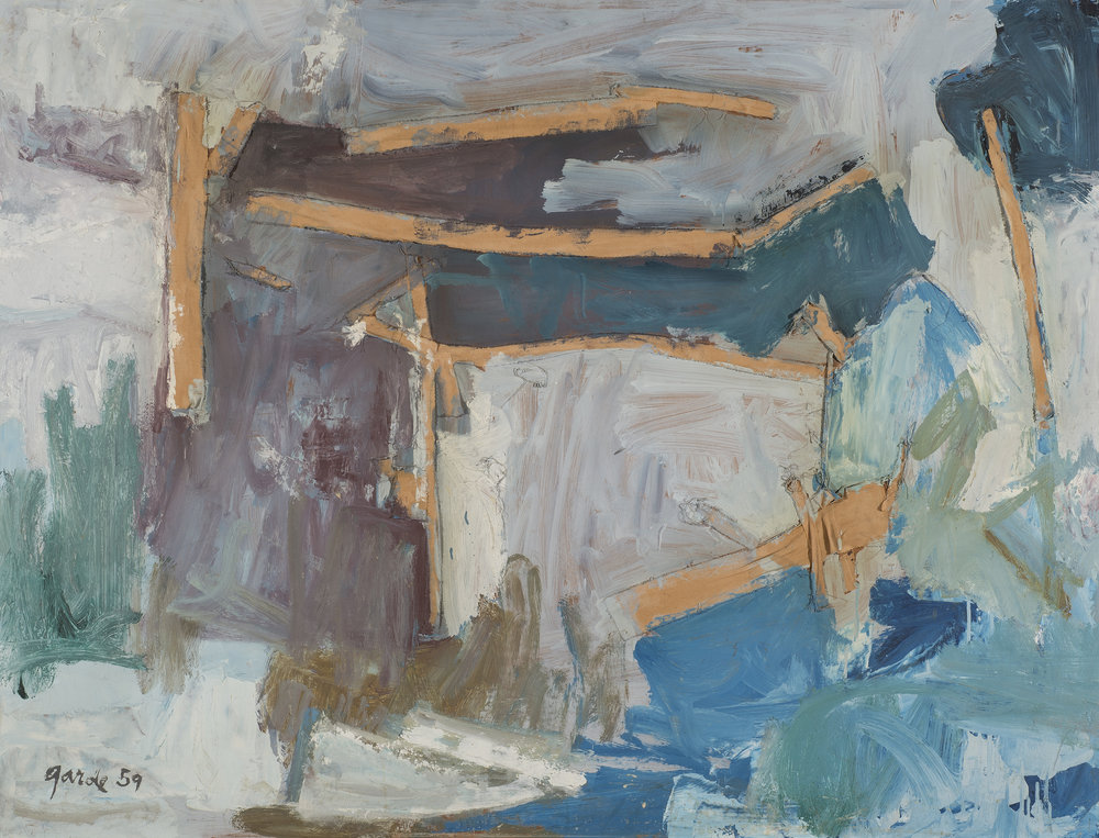 Scaped , 1959. Oil, fabric strips on hardboard (masonite), 36 x 47 in. (91.4 x 119 cm.)