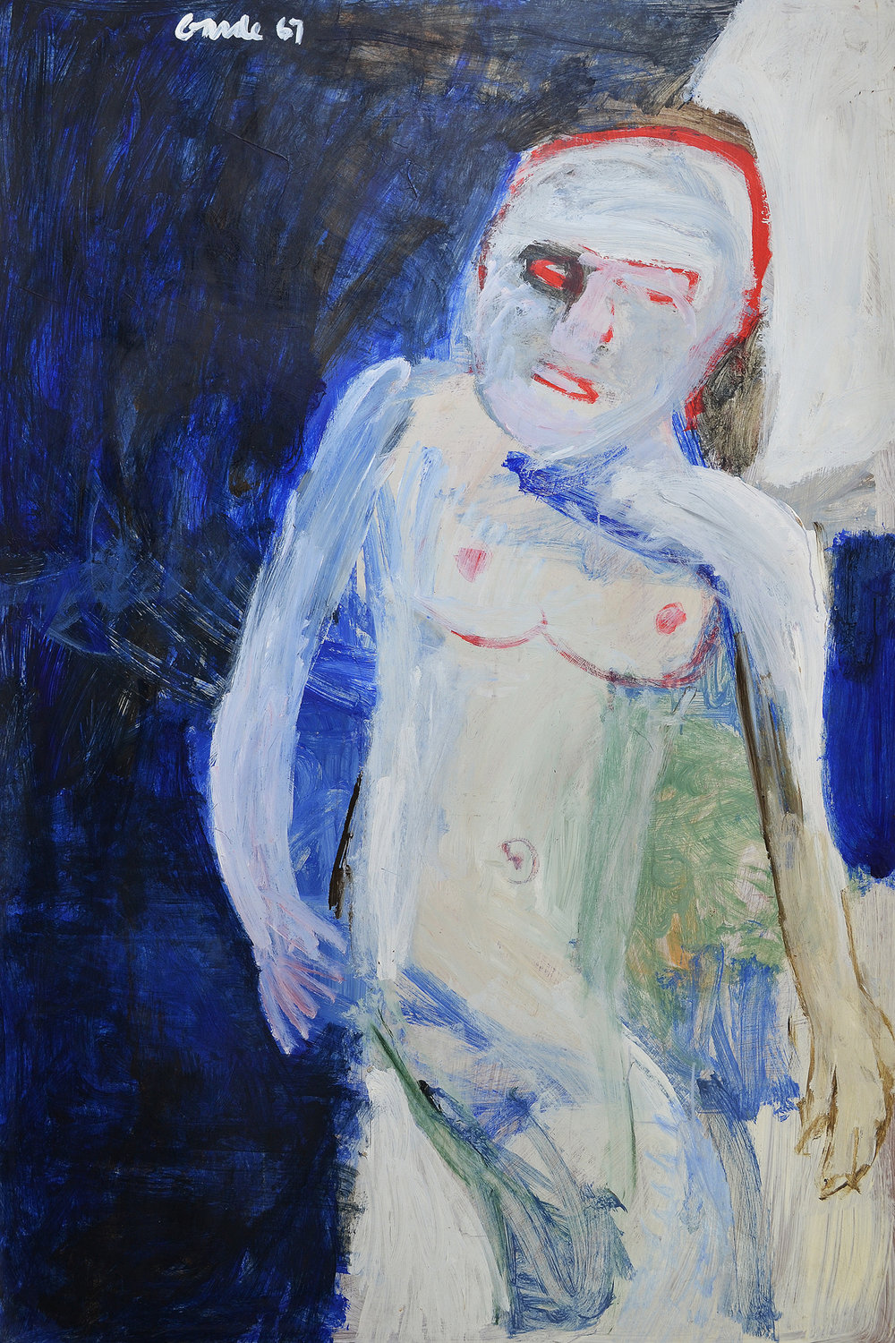 Standing Male (Nude) , 1967. Oil on hardboard (masonite), 72 x 48 in. (183 x 122 cm.)