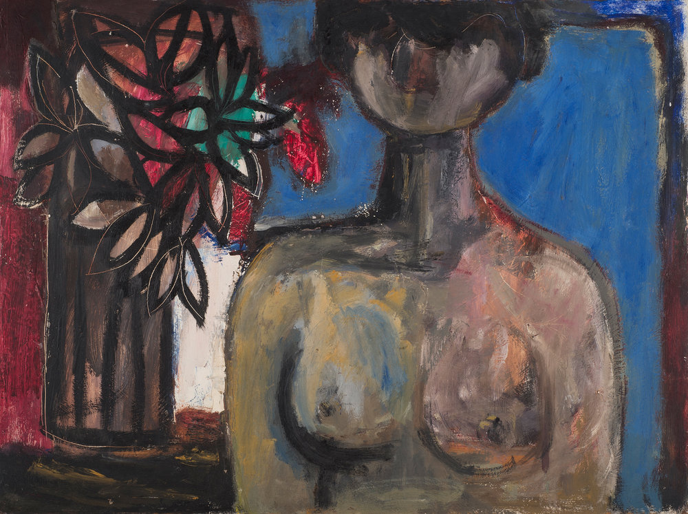 Figure with Flowers , 1976. Oil on hardboard (masonite), 36 x 48 in. (91.4 x 122 cm.)