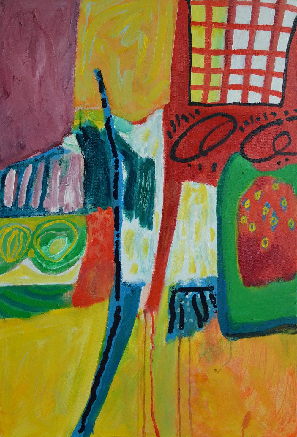 1.3 2000s Untitled (Grid Window). 24x34. Acrylic on Canvas