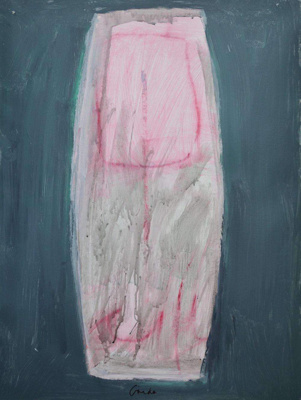 3.3 2004 ME SL IMG-296. Pink Vessel. 2004. 30x22. Acrylic on Paper. Still Life