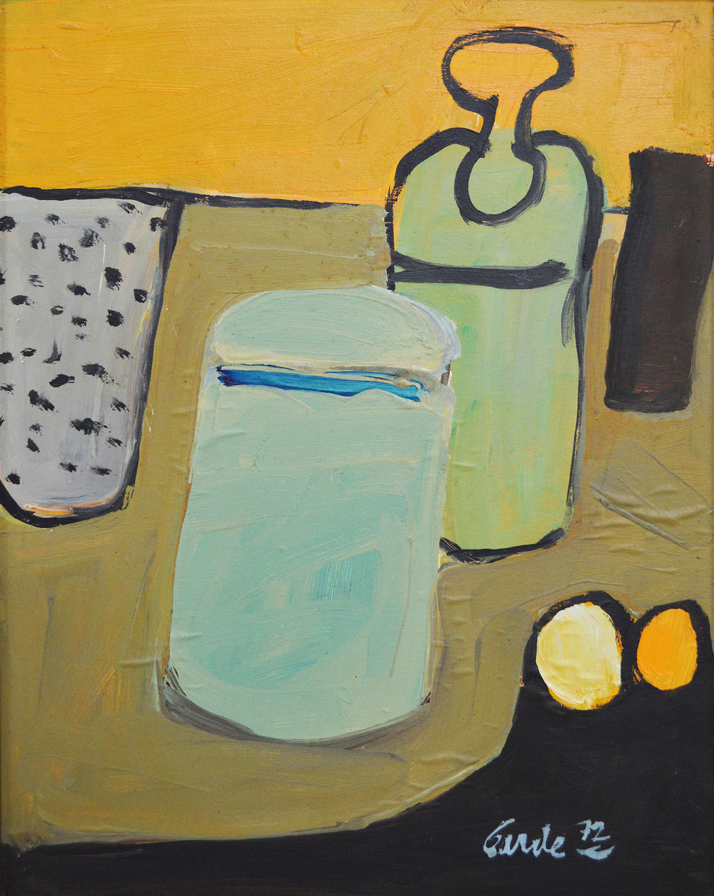 Vessels,  1972. Acrylic on hardboard (masonite),  17 x 13.5 in. (43 x 34 cm.)
