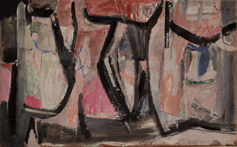 Untitled (Non-figurative Work) , 1958. Oil on hardboard (masonite), 30 x 40 in. (76 x 100 cm.)