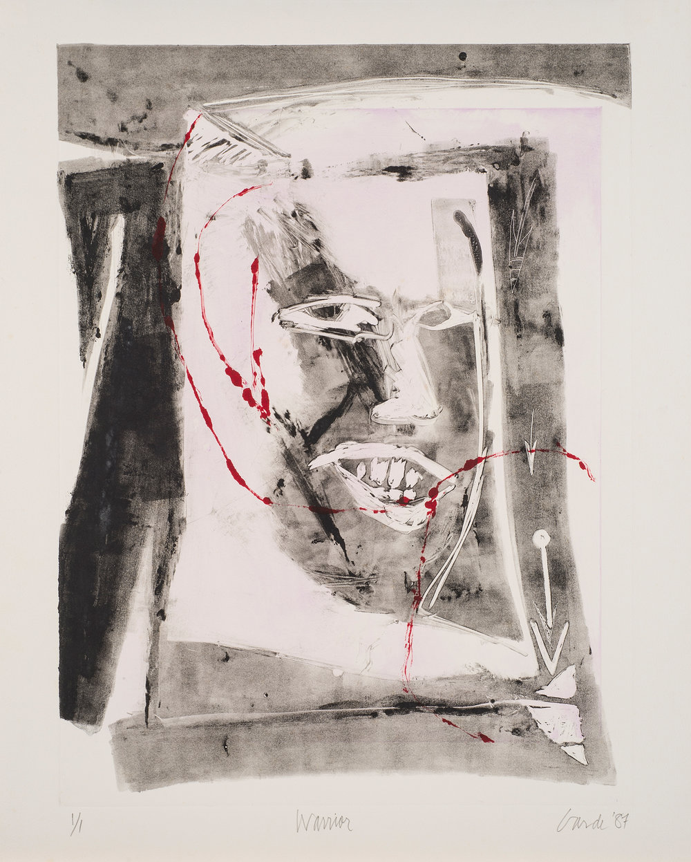 Warrior,  1987. Monotype on paper, 27 x 22 in. (68 x 56 cm.)