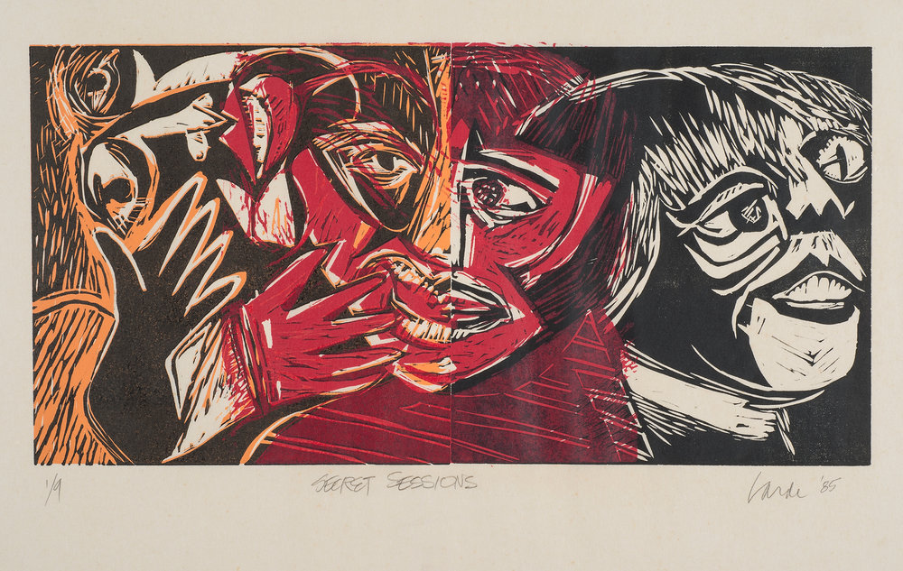 Secret Sessions, 1985. Linocut on paper, 19 x 26.5 in. (48.3 x 67.3cm.)