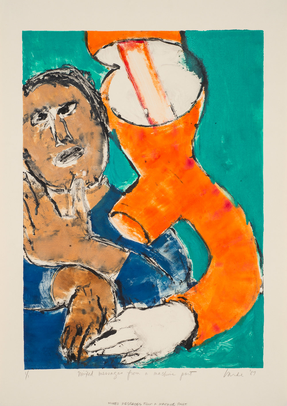 Mixed Messages From a Machine Part , 1987. Monotype on paper, 28 x 20 in. (71 x 51cm.)