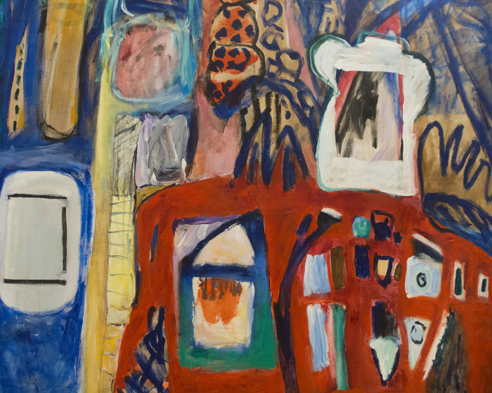 Woman in Red Dress , 2006. Acrylic on canvas, 44 x 55 in. (112 x 140 cm.)