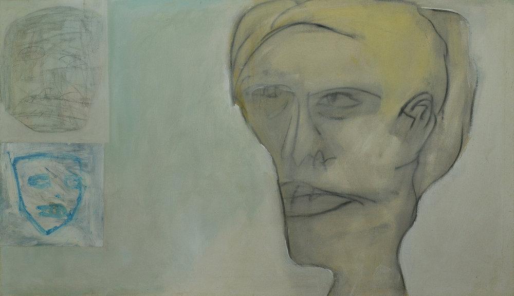 Dark Line Head , 2003. Acrylic on canvas, 33 x 58 in. (84 x 147 cm.)
