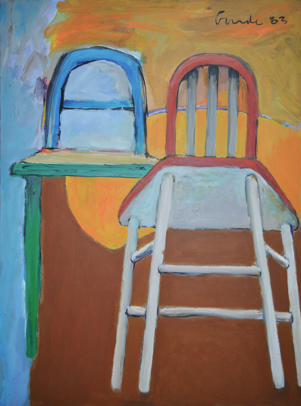Two Chairs , 1983. Acrylic on canvas,  48 x 36 in. ( 122 x 91 cm.)