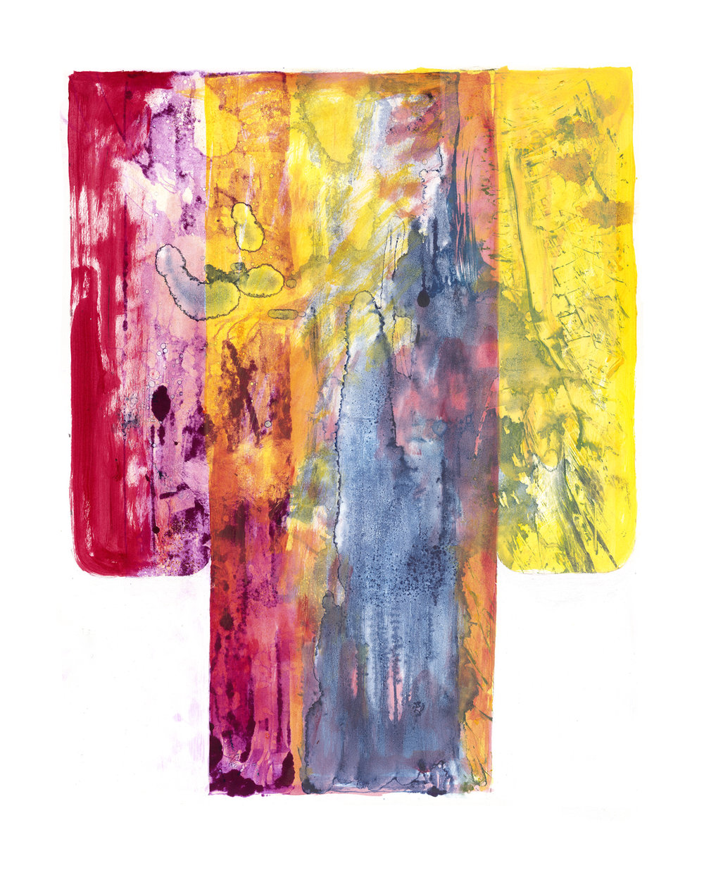 Formal Kimono , 2000-2002, Monotype with hand painted modifications by the artist, 32.5 x 25.5 in. (82 x 64 cm.)