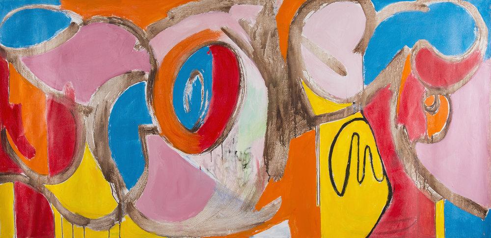 Untitled , 2017. Acrylic on canvas, 31 x 81 in. (79 x 206 cm.)