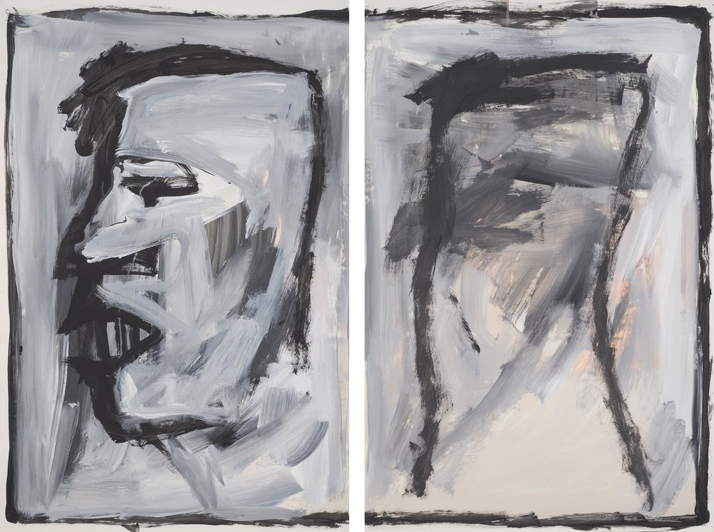 Untitled, 1989. Acrylic on paper.  Diptych: each sheet 23 x 35 in. (58 x 89 cm.)