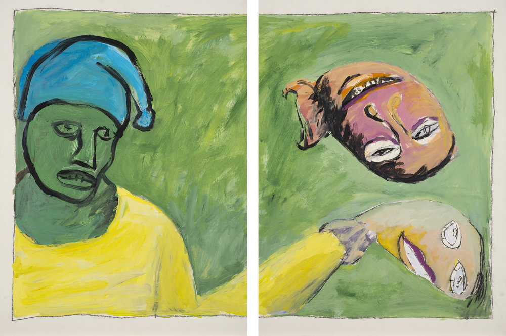 Man with Puppets , 1990. Acrylic, charcoal on paper. Diptych: each sheet, 22 x 38 in. (56 x 96 cm.)