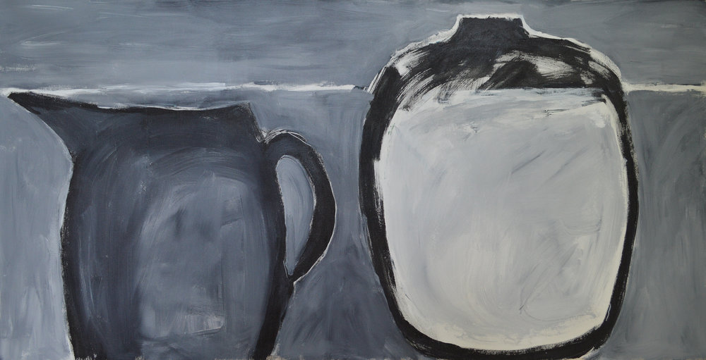 Vase with Pitcher , 2010. Acrylic on canvas, 31 x 63 in. (79 x160 cm.)