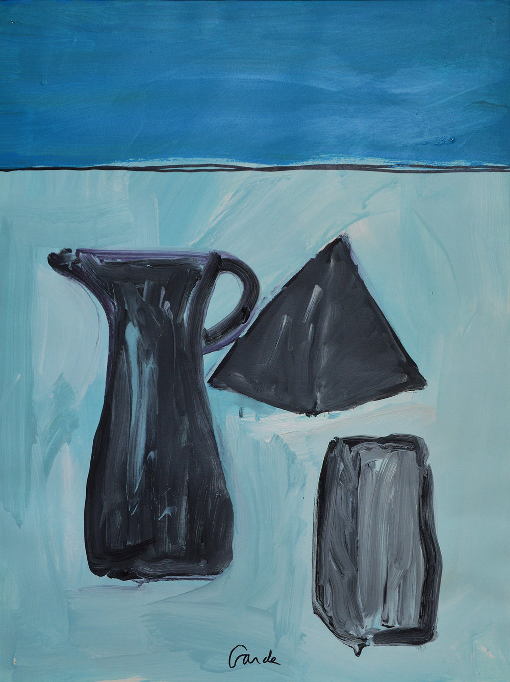 Vessels with Pyramid. 2002. Acrylic on paper, 26 x 19 in. (66 x 48cm.)