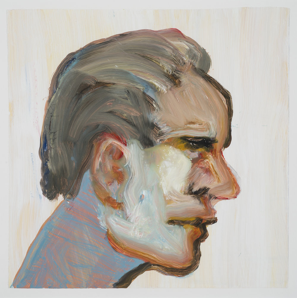 Self Portrait, 2005.  Acrylic Strappo mounted on paper, 15 x 15 in. (38 x 38 cm.)