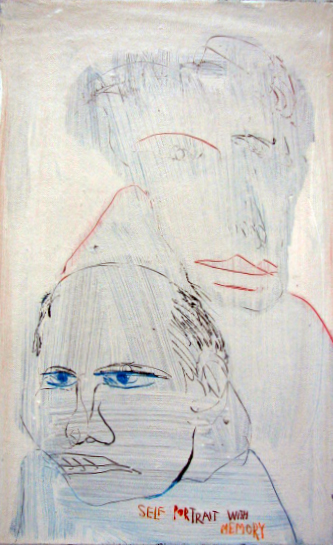 Self Portrait with Memory , 1992. Acrylic Strappo mounted on canvas, 14 x 9 in. (35 x 23 cm.)