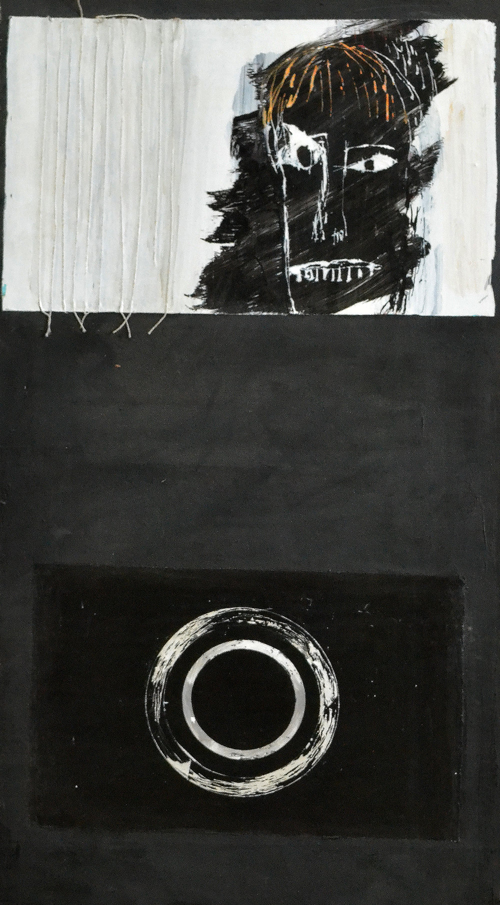 Untitled , 1992. Acrylic Strappo, string mounted on, 33 x 19 in. (83 x 48 cm.)