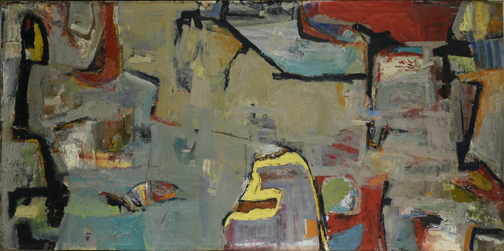 Untitled , 1957 Oil on hardboard (masonite) 23 x 47 in. (58.4 x 119.4 cm.) Collection of Geoffrey Goldstein