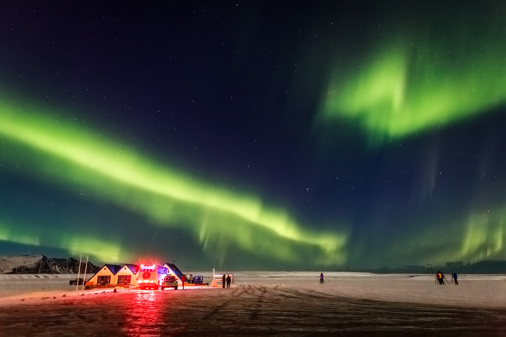 There is nothing like lying on your back, looking up at clear skies on a dark winter's night, and watching the riveting Northern Lights dance across the sphere. The show begins often out of the blue and is surely worth waiting for. - AURORA BOREALIS