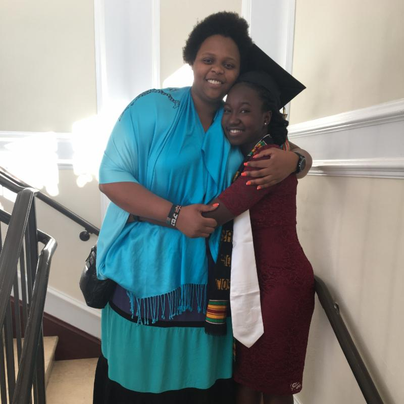 Joanne 'Jojo' Kuria (2011) attended Sterlie Achille's (2013) graduation in December at the University of Florida, December 2017.
