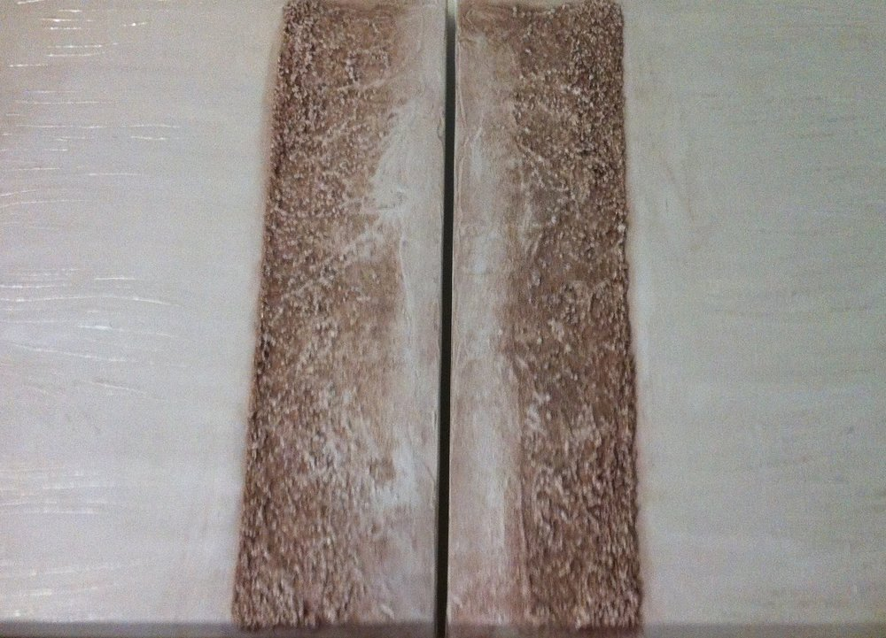 50x70cm gallery wrapped canvases. The rough surface is obtained with gravel and sand.