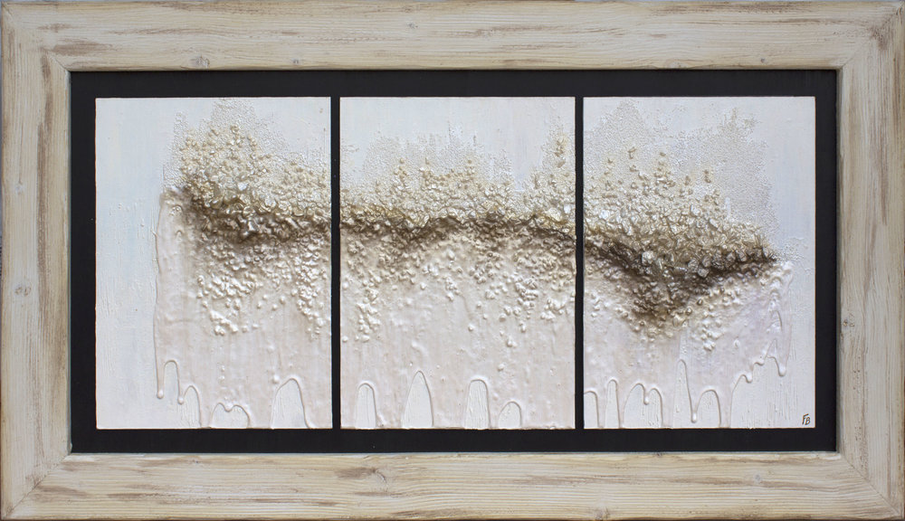 KIND OF HOPE   2018 | 21.5x38x0.98in - 54.5x96.5x2.5cm | Original mixed media triptych painting on canvassed boards. As seen in  The World of Interiors , October 2018 issue.