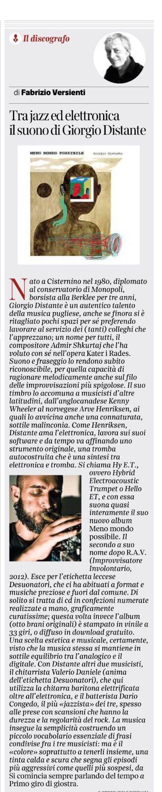 Tra jazz ed elettronica il suono di Giorgio Distante // Corriere del mezzogiorno 27/01/2018