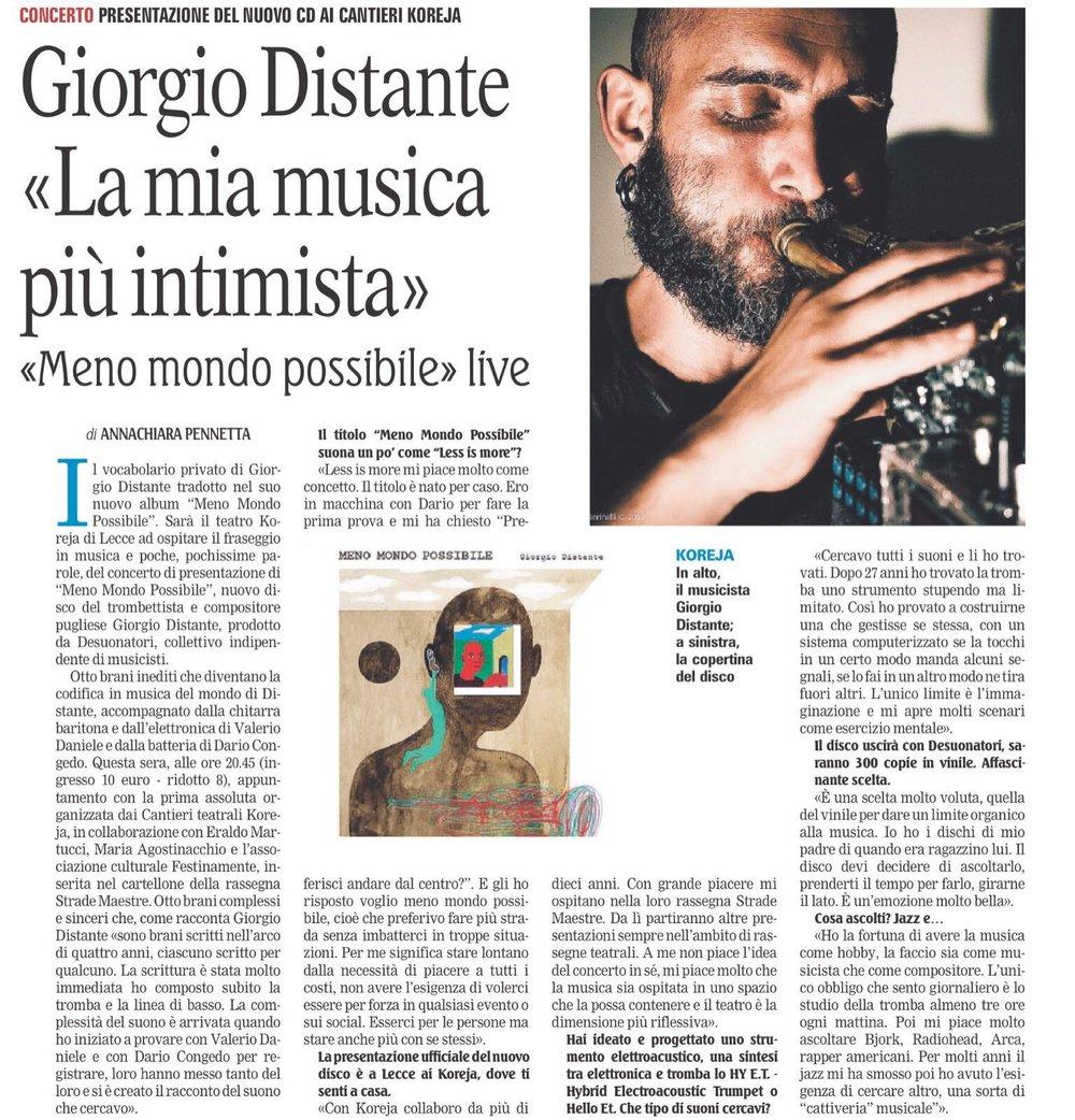 """Giorgio Distante """"La mia musica più intimista"""" di Annachiara Pennetta // Gazzetta 18/01/2018"""