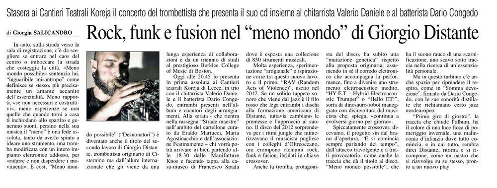 """Rock, funk e fusion nel """"meno mondo"""" di Giorgio Distante // Giorgia Salicandro // Il Quotidiano 18/01/2018"""