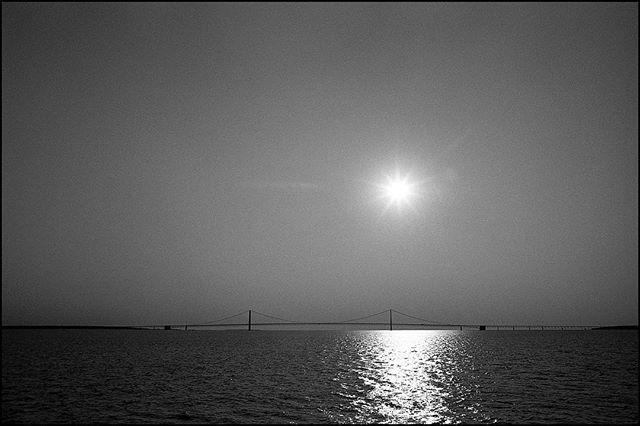 Looking west toward The Mighty Mac. • Nikon F2 Nikkor 50mm, f/1.4 Ilford hp5+ • #nikonf2 #ilfordhp5 #ilfordphoto #blackandwhite #bridge #sun #film #filmisnotdead #filmisalive #filmphotographic #photofilmy #filmphotography #heyfsc #filmcommunity #ishootfilm #believeinfilm #buyfilmnotmegapixels #35mm #35mmfilm #analog #analogphotography #filmcommunity #justgoshoot #staybrokeshootfilm #shotonfilm