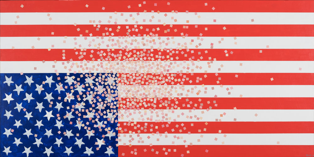 """Refugee Pixels from an imaginary portrait of America 2017, 24""""x48"""", 2017, acrylic on panel"""