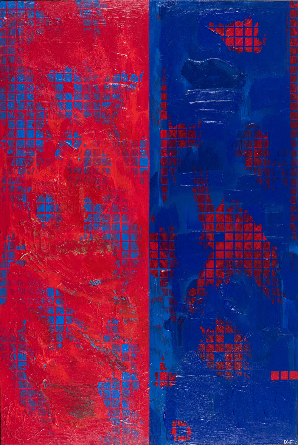 "Red State Blue State, 24""x36"", 2017, acrylic on panel"