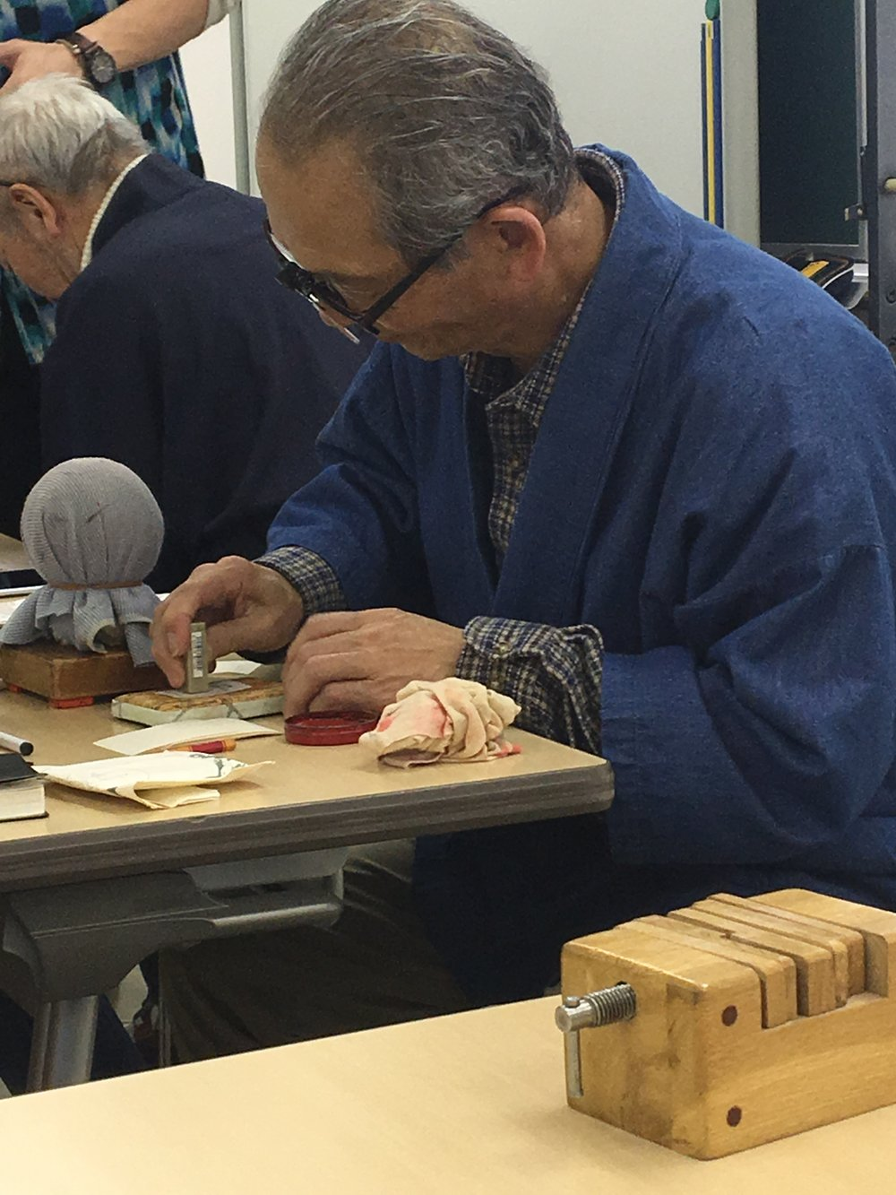 One of our hanko instructors. He's been practicing this art for decades!