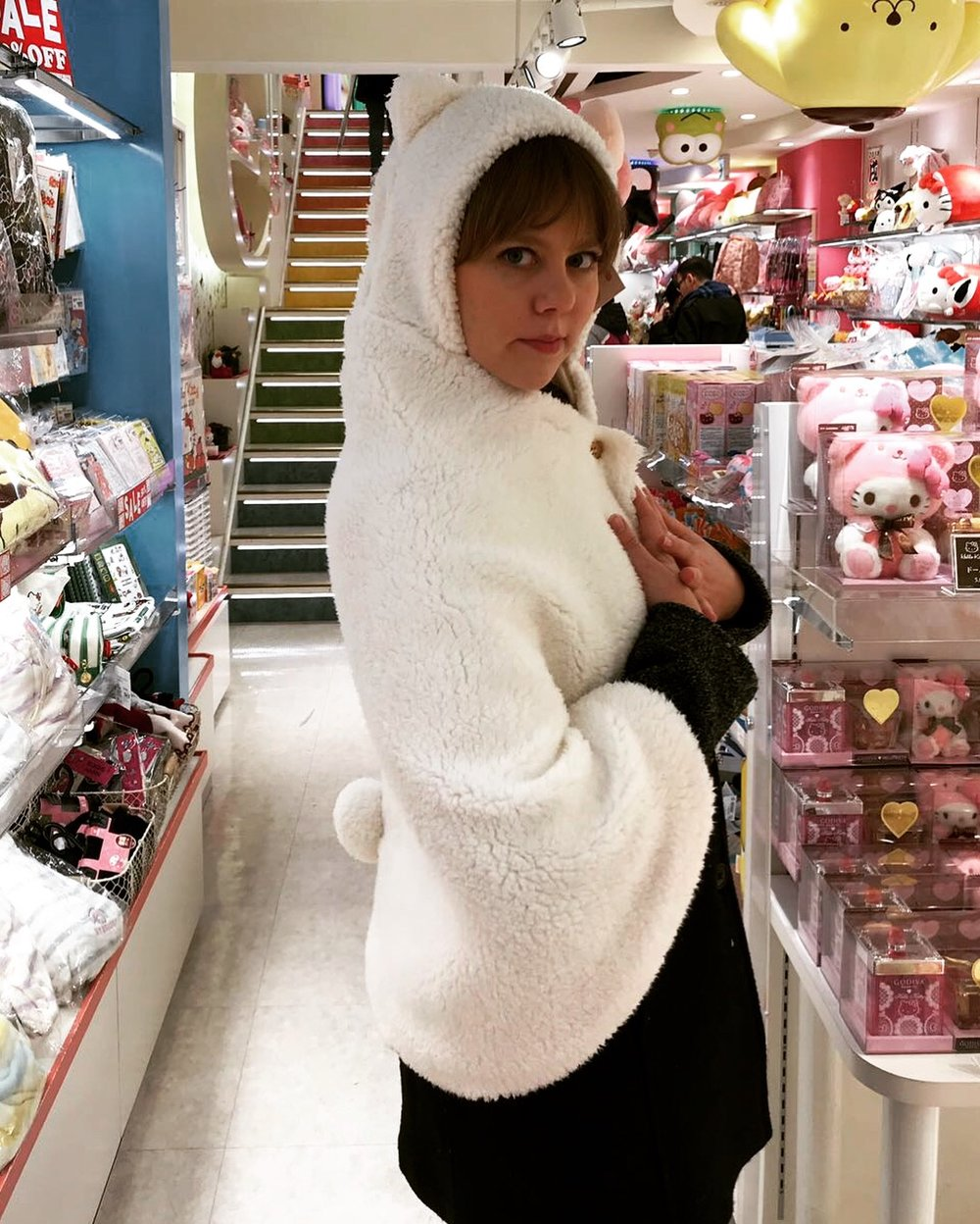 What trip to Japan would be complete without a Hello Kitty modeling session?